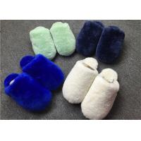 Cheap Closed Toe Shearling House Slippers , Ladies Sheepskin Slippers With Rubber Sole  for sale