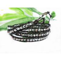 Best Four Layer Black Bead Ed Leather Wrap Bracelets 72cm Personalized Beaded Bangles wholesale