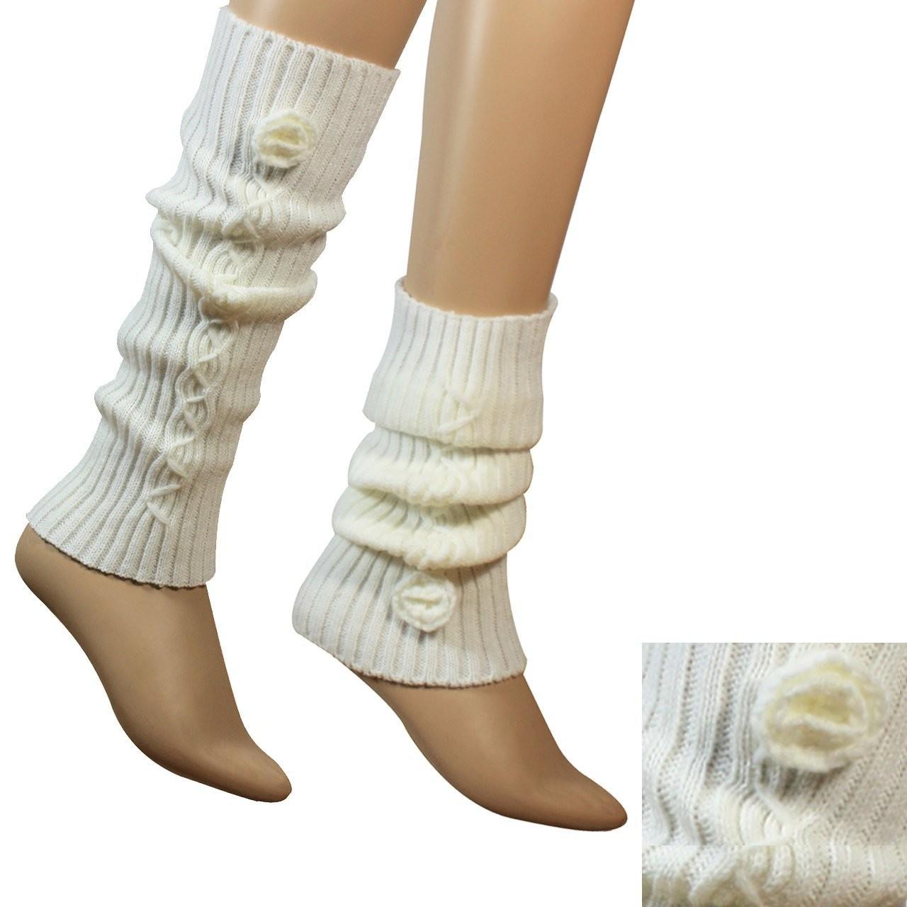 Cheap 3.5 / 15.75 Inches White / Gray / Black Acrylic Knitted Leg Warmer Pattern For for sale
