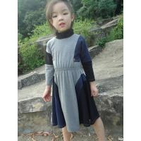 Best Grey  Turtleneck 5 Year Baby Girl Dress , Little Girl Long Sleeve Dresses Cotton Spandex wholesale
