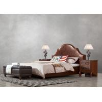 Best American leisure style Split Leather Upholstered Headboard Kind Bed with Wooden Furniture for Villa house Bedroom used wholesale