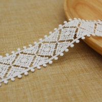 China 3.5cm Polyester White Embroidered Lace Trim For Garment on sale