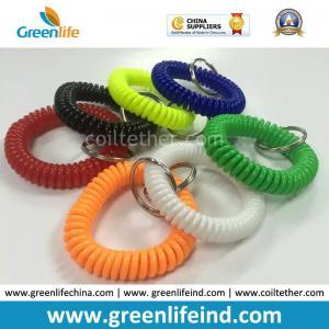 Best Elastic Promotional Gift Multicolors Plastic Wrist Coil W/Key Ring wholesale