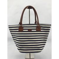 Best Eco Friendly Black And White Striped Tote Bag Custom Design With Inner Pocket wholesale