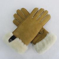 Best Yellow Double Face Shearling Sheepskin Gloves Soft Fashion Warm Simple Classic Style wholesale