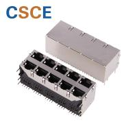 China 59B Series Stacked RJ45 Connectors 2 * 5 Port Voltage Rating 125 VAC RMS With EMI on sale