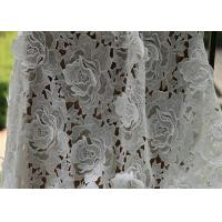 Cheap White Water Woluble French Polyester Guipure Lace Fabric With 3D Flower Design for sale