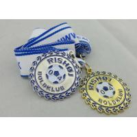 Best 2D or 3D Gold Plating Iron / Brass / Zinc Alloy Rishoj Iron Stamped Ribbon Medals with Soft Enamel wholesale