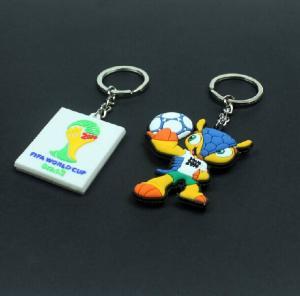 Best 2014 Brazil the world cup emblem mascot souvenir emblem ornament armadillo plastic key chain key ring wholesale