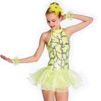 Best Neon Yellow Fully Sequins Halter Neck Jazz Tap Dance Dress Competition Costumes Sparkly Performance Wear wholesale