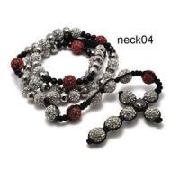 Best Custom Made White Shamballa Bead Necklace With Beaded Cross For Ladies wholesale