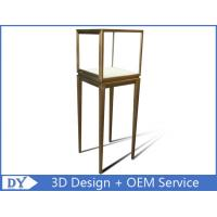 Best Manufacturer oem top grade fully assemble  brush stainless steel glass pedestal display stand with lights wholesale