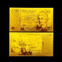 Best £50 Pounds plated gold foil banknote for Value Collection Art crafts wholesale