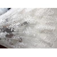 Best Luxury Ivory Embroidery Cord Sequin Lace Fabric / French Bridal Sequin Mesh Fabric wholesale