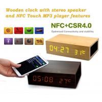 China Creative Thermoneter Bluetooth Wooden Alarm Clocks Wireless Speaker on sale