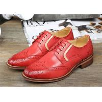 Best Sheepskin Upper Female Derby Shoes , Retro Red Womens Wingtip Brogues Shoes wholesale