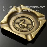 Buy cheap Die casted 8 inch alloy square cigar ashtrays, square antique brass metal ash from wholesalers