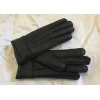 Cheap Windproof Men'S Shearling Sheepskin Gloves , Thick Fur Lined Leather Gloves Mittens  for sale