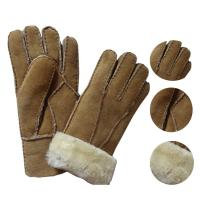 Best Economic and soft double face sheepskin gloves patched gloves real leather lamb fur gloves wholesale