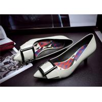 Cheap Spring Comfortable Trendy Shoes Pointed Low Heels For Office Ladies With Square Buckle for sale