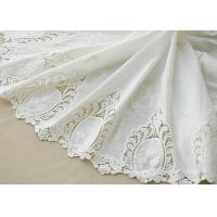 Best Cotton White Crochet Lace Fabric / Embroidered Lace Fabric For Home Textile 130cm wholesale