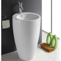 Best Fixing to Wall with Back Bathroom Sanitary Ware Ceramic Standing Pedestal Sinks Wash Basin wholesale