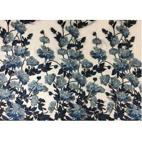 Best Bule Floral Embroidered Polyester Net Lace Fabric For Wedding Gown Dresses wholesale