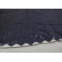 Best Navy Sequin Mesh Fabric , Embroidered Lace Fabric By The Yard For Evening Dresses wholesale