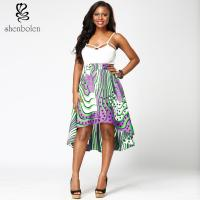 Best Fabric African Print High Waist Midi Skirts High Low Style For Summer / Spring wholesale