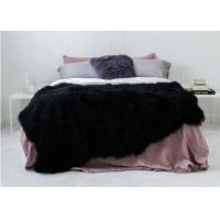 Best Luxury Tibetan Real Sheepskin Rug Black Long Silky Curly Fur 120 *180cm For Floor wholesale