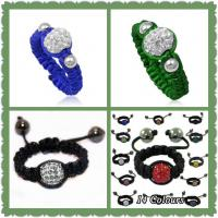 Best Customized Colorful Clay / Crystal Shamballa Ring With Sparkling Disco Balls wholesale