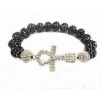 Cheap OEM Crystal Sideways Cross Bracelets With Black Chaming Beads For Women for sale