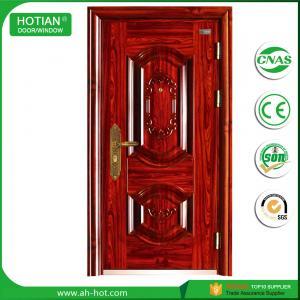 Best residental front door, main entrance steel security door in metal skin with stainless steel handle, galvanized hinges wholesale