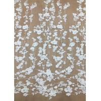 Best Ivroy Color French 3D Floral Lace Fabric , High End Wedding Lace Fabric By The Yard wholesale