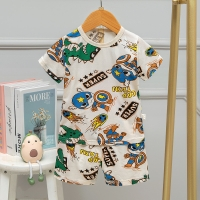 Buy cheap Full Flower Summer Pyjama Sets 95% cotton 12 Month Pajama 80cm Height 50cm Bust from wholesalers