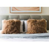 Best Real Mongolian Sheepskin Brown Throw PIllow Double Sided Fur with long hair wholesale