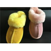 Best Tan Suede Sheepskin Slippers Winter Women Cow Suede Sheepskin House Slippers wholesale