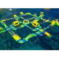 Best Huge Sized Inflatable Water Park Green / Yellow Printed For Ocean Playground wholesale