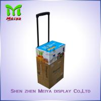 Cheap Portable Custom Cartoon Corrugated Paper Case Handle Cardboard Luggage Bag with Wheels for sale