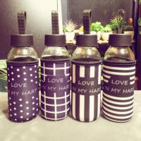 Best 280ml Mini Insulated Glass Water Bottle Reusable With Fabric Sleeve wholesale