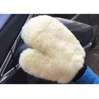 Best Household White Car Wash Hand Gloves , Lambswool Car Wash Mitt 26.5 X 21 Cm wholesale
