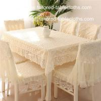 China Luxury embroidered lace tablecloth and chair cover, embroider lace table linens, on sale