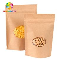 Best Stand Up Brown Paper Bags For Candy Packaging With Window / Kraft paper bag for food wholesale