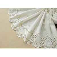Best Customized Embroidery Cotton Lace Fabric By The Yard For Dress Cloth Off White Color wholesale