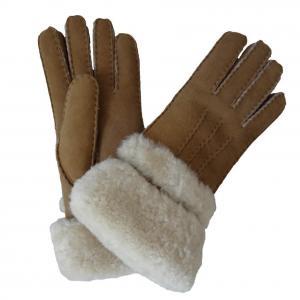 Best Chestnut Color high quality sheepskin lambskin fur gloves shearling sheepskin fashion gloves with fur trim cuff wholesale