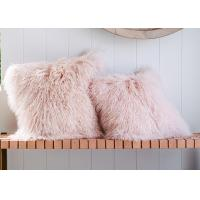 Cheap Long Wool Pink Mongolian Lamb Fur Throw Pillow 20x20 Inch For Air Condition Room for sale