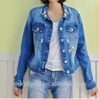 China Fancy Distressed Stretch Embroidered Denim Jacket For Womens Fashion Design on sale