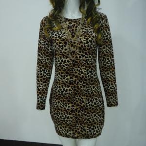 Best Stretchy Leopard Print Club Dress , Long Sleeve Velvet Bodycon Dress V Back wholesale