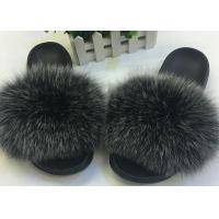Cheap Ladies Genuine Luxurious Fox Fur Slippers Anti Slip Comfortable For Autumn Winter for sale