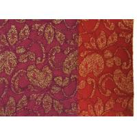 Cheap Red Golden Embroidery Sequin Lingerie Lace Fabric For Wedding Dress , Decoration Lace Fabric for sale